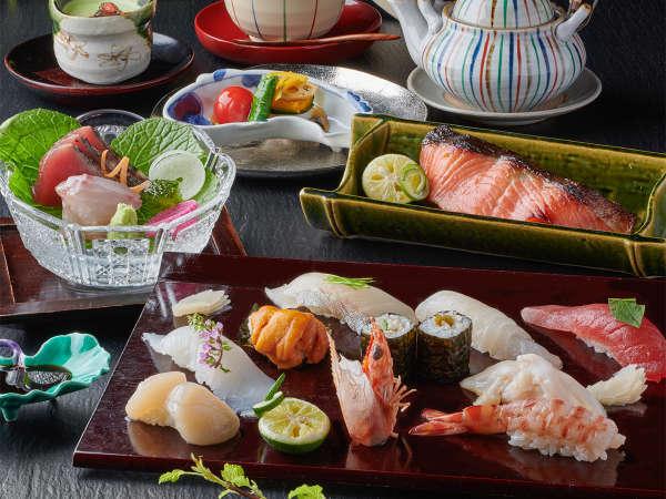 寿司ミニ会席一例 伊勢近海でとれた新鮮な魚介を握りで