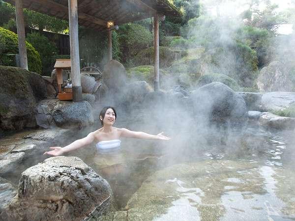 早朝の露天茶風呂で気分も爽快に!