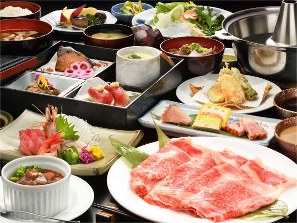 ■米沢牛 しゃぶしゃぶ膳■きめ細かいサシが甘味の決め手。旬の野菜と一緒にお愉しみ下さい