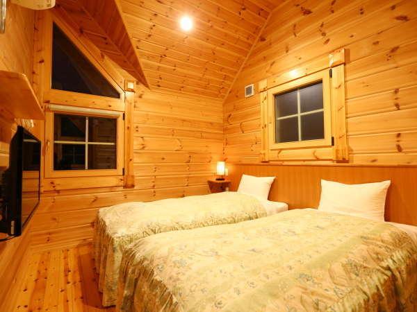 ≪ログコテージ≫Bタイプの寝室例。どうぞごゆっくりお休みください☆