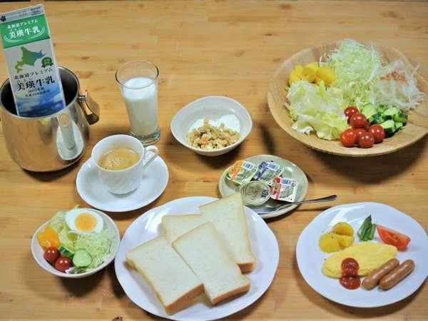 朝食はお好きな種類と量をお取り下さい。美瑛でしか味わえないお料理と自負しております。