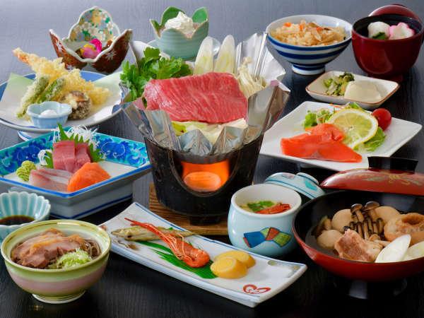 [夕食一例/風薫]芋煮、山形牛鍋、冷たい肉そばなど、山形グルメをまるっと満喫♪