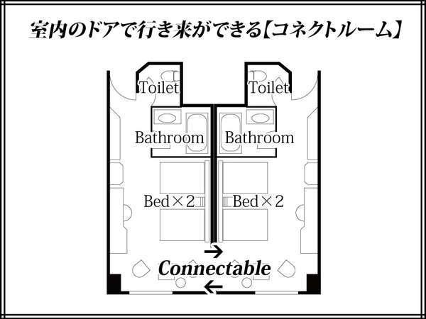 26平米の2部屋をつなげて使えるコネクティングルーム