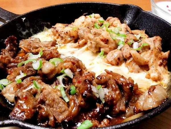 夕食は蔵王の牧場牛を韓国料理に。お酒やご飯との相性抜群です!※辛み抜きも可