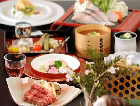【春の饗宴の本会席・全12品】焼物は肉料理または魚料理よりチョイスできます。