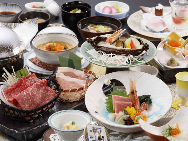 【期間限定】県産黒毛和牛と海の幸◆ダブルメインのお得膳