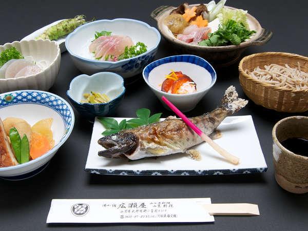 *自然豊かな環境が広がる小菅村ならではの、季節の素材を使用したお料理。(一例)