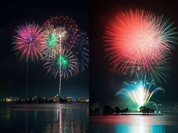 【松江水郷祭】ホテル目の前から上がる花火は客室から見て・感じる事ができます^^