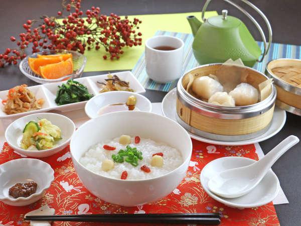 【朝食一例】朝食の中華セットは点心と数種の小鉢がついてボリューム満点★
