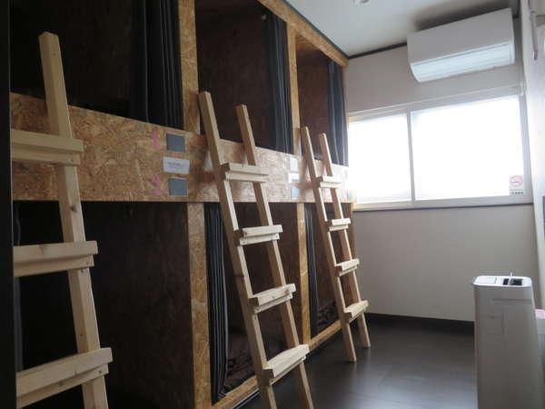 ドミトリー/ガッチリした作りの2段ベッド/空気清浄機・寒冷地仕様エアコン完備