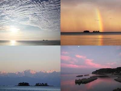 お天気の条件がよければ海越しの立山連峰を見ることができます。カメラマンにも愛される宿です。