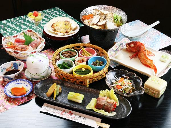【基本コース】地元の採れたて食材と旬の山海膳(※キンキは運が良ければ付きますが、通常は一般魚です)