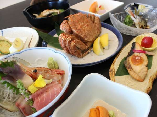 特別膳【 豊漁御膳 】1泊2食付プラン ご夕食は毛蟹・特選御造りを含む海の恵みをしたづつみ