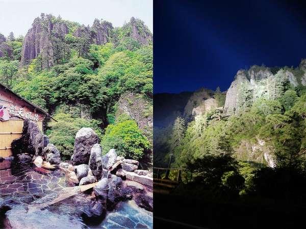 闇夜に浮かびあがる立久恵峡。夜はライトアップされ、露天風呂から眺めることができる。