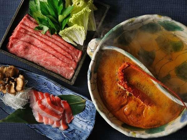 【秋冬の特別会席】伊勢海老・鮑・金目鯛を味わい尽くす♪メインは2種のスープを楽しむ「山海鍋」1泊2食付