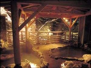 絶景の雪景色・・・牧水の湯(露天風呂)