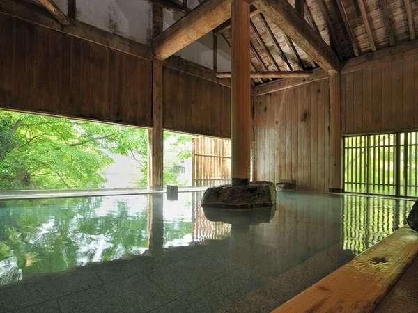 『牧水の湯』 ヒノキ風呂