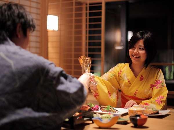 部屋食・個室食プランはプライベート感たっぷり♪ゆったりと会席料理をお楽しみいただけます。