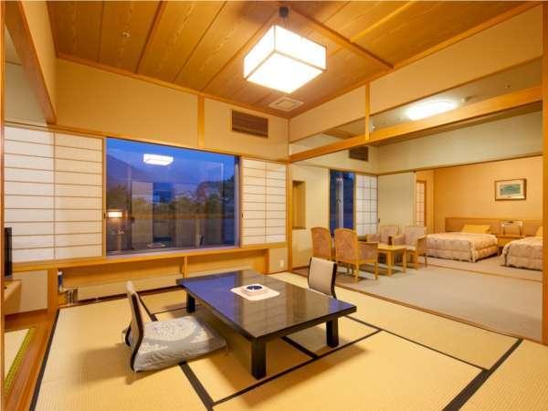 【準特別室;バリアフリー和洋室】和室10畳+洋間+ベッド付