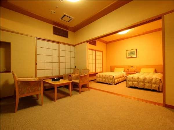 【準特別室;バリアフリー和洋室】洋間。お部屋は全てフラットになっています。