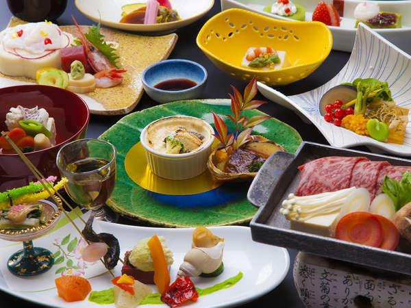 【四季彩和食膳】当館一番人気の和食膳。風味豊かな上州牛をメインとしています。写真はイメージです。