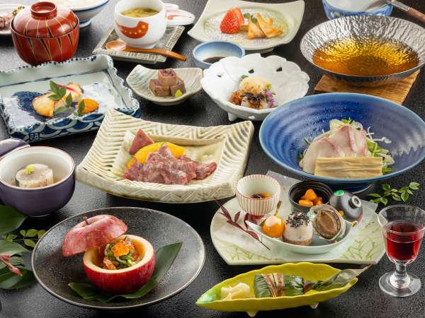 【四季彩和膳】イメージ。メインは上州牛、旬の地元食材をふんだんに使った人気No.1夕食。