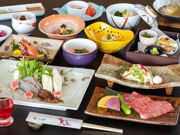 上州牛がメイン、旬の地元食材をふんだんに使った四季彩和膳。写真はイメージです。