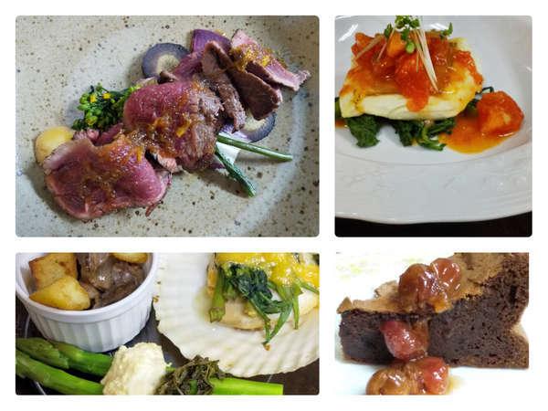 メインの牛肉に季節の野菜や魚介などを色々な調理法で楽しめるデリカ風の前菜や魚料理と手作りデザート
