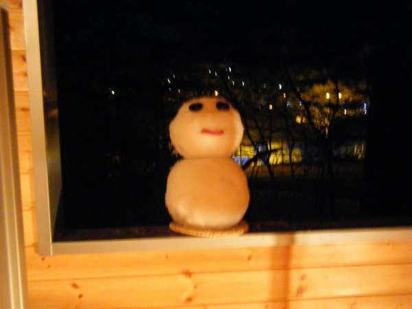 貸切風呂にそっと「雪だるま」です♪