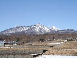 屋上から冬の八ヶ岳を眺める