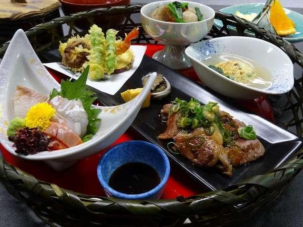 【1泊2食付き】近江牛ミニステーキ和籠膳のご夕食