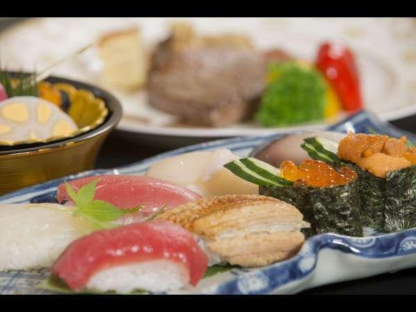【青森県産牛のステーキと特上にぎり寿司】特別会席料理(イメージ写真)