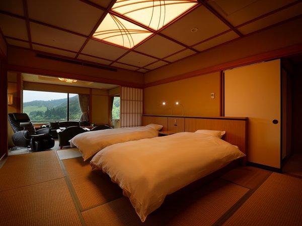 露天風呂付き特別室 ※2012年4月 シモンズベッド設置。温泉でもベッドで快適に.