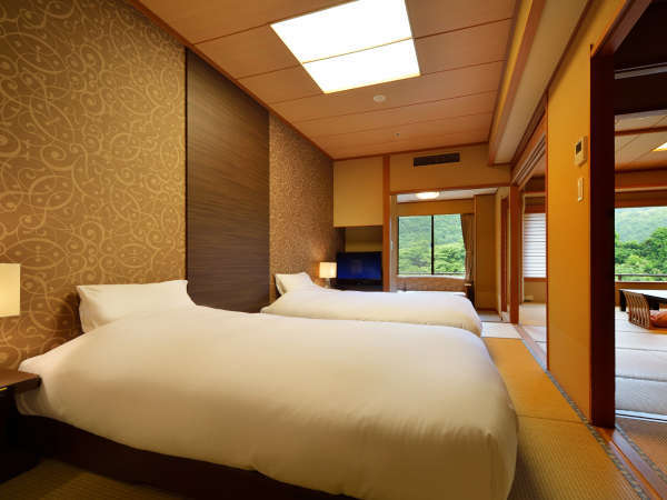 客室「花かんむり 二間ベッド付(禁煙)」※寝心地も評判な禁煙ルームです。