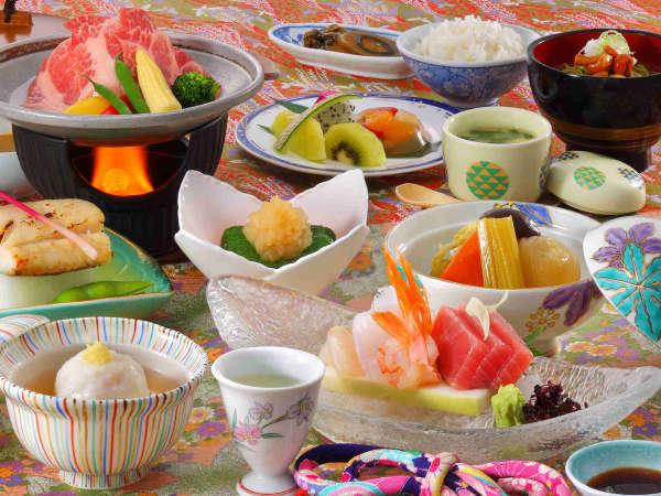 花巻産 白金豚のをメイン料理にした「和膳スタイル」※写真は夏期間・竹膳、イメージとなります