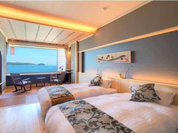 【2018夏リニューアル客室】Fタイプベッドのある和洋室。海景色を見ながらお寛ぎください