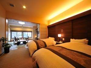 【2階 温泉付特別室】セミダブルサイズのベッドが二つ