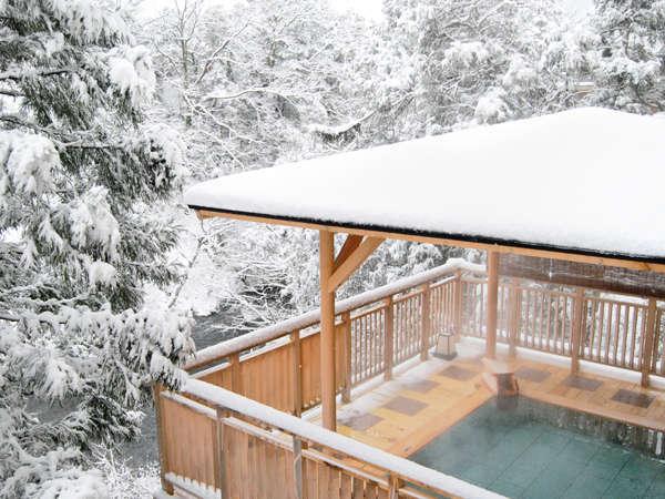目の前に一面、水墨画のような世界が広がる冬の「白鷺の湯」。