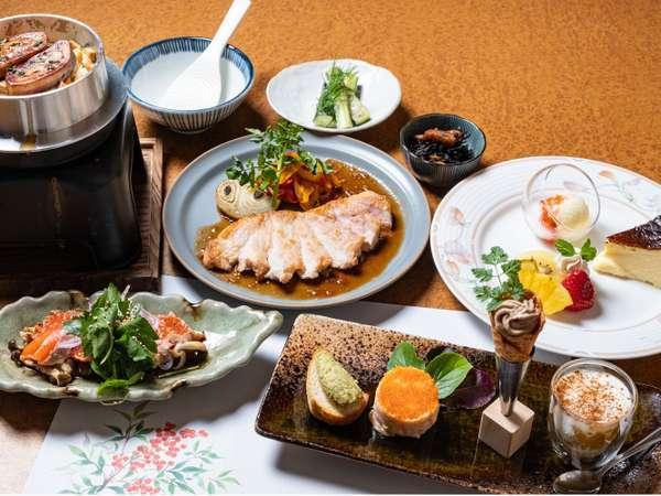 前菜ニラとチーズのパテ、いぶりがっこのタラモサラダ、レバームース、かぼちゃのサラダ