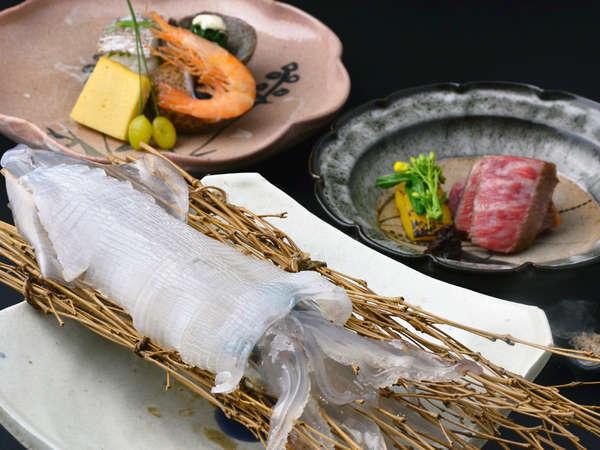 特選霜降り佐賀の黒毛和牛のステーキプラン料理一例