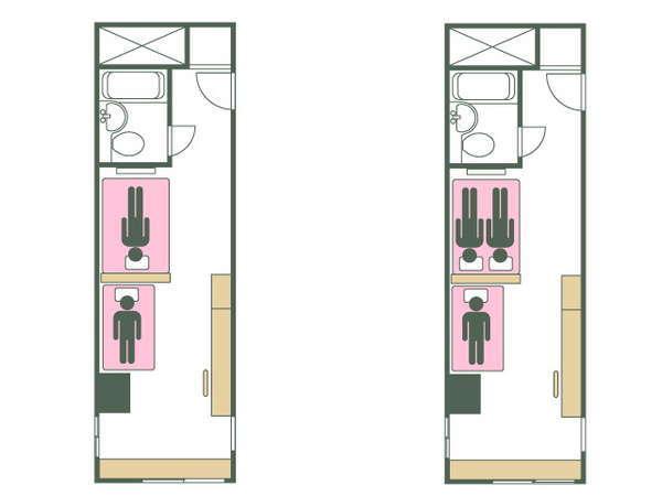【禁煙】タイプC 140+90cmベッド2台で2~3名様OK ☆