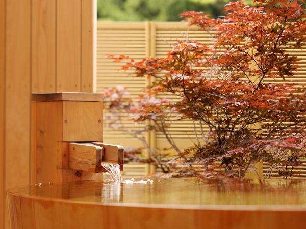 露天風呂付客室の露天風呂にて