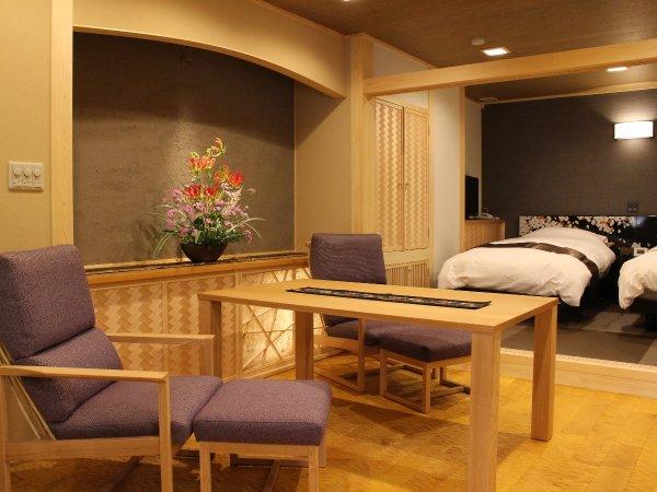 【桜の間】温泉露天風呂付客室/ダイニング+ツインベッド