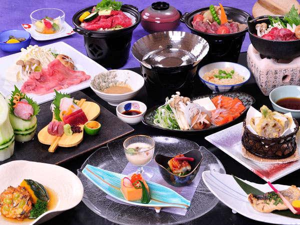 甲州ワインビーフのほお葉ほうとう味噌焼に加え、鍋が選べる贅沢なコース(8月)
