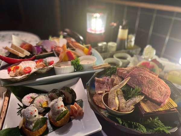 【お食事】夕食の豪華BBQの黒毛和牛ステーキはもちろん、新鮮な海鮮や野菜、甘味まで美味ぞろい(一例)