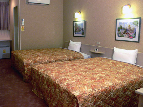 バストイレを含め約25㎡の客室に幅1.5m超のベッド2台