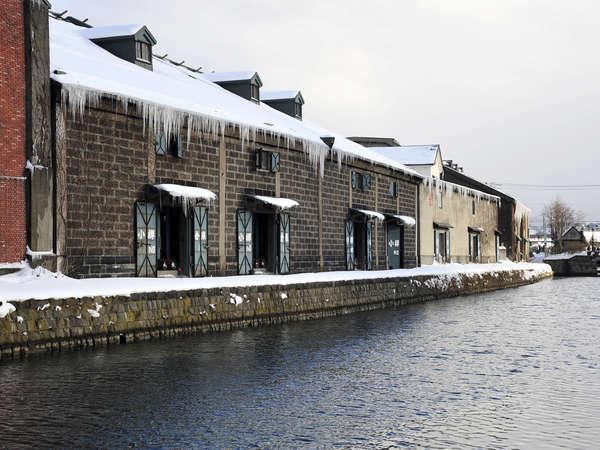 *【小樽運河(一例)】雪の小樽運河は、いっそう絵になります。