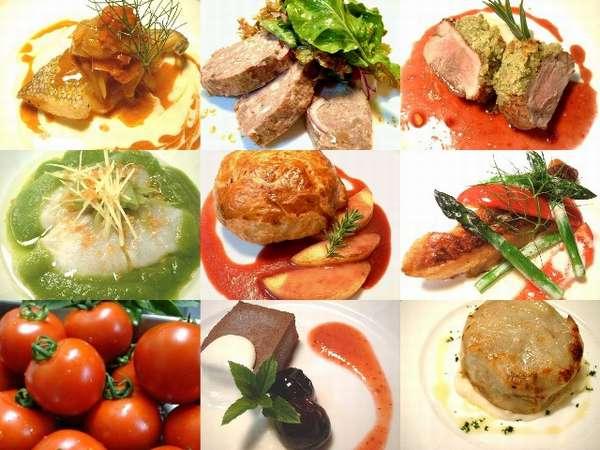 旬の自家農園野菜を使い、趣向を凝らしたフレンチイタリアンのコース料理