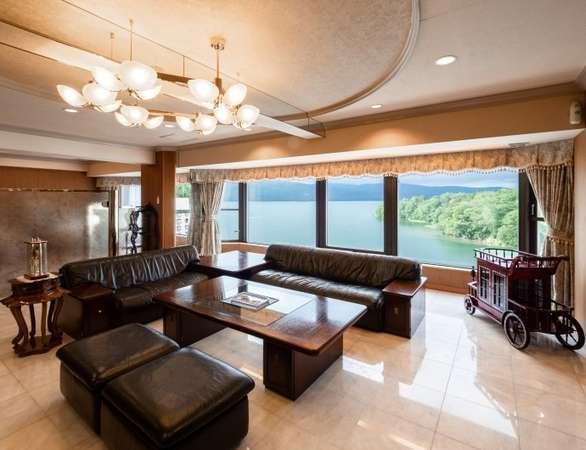 貴賓室(120㎡)和室、洋室、応接間、ジャグジーとサウナ室完備の絶景客室