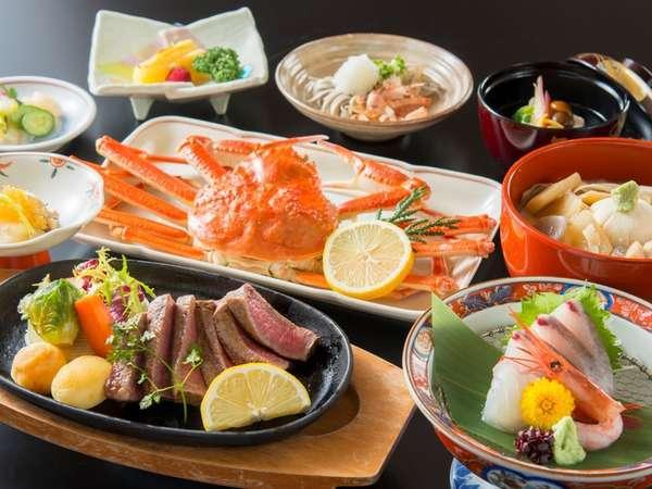 【「食事処」又「別会場」】国産牛ステーキ(120g)&冷凍姿蟹(1杯)♪牛蟹会席(両方食べたい方に)